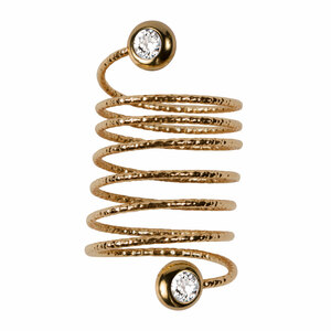 6 Coil Crystal by H2Z Spiral Rings - Gold Spiral Adjustable Ring