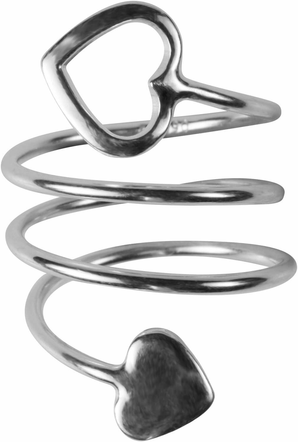 2 Coil Hearts by H2Z Spiral Rings - 2 Coil Hearts - Rhodium Spiral Adjustable Ring
