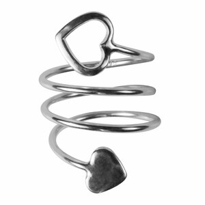 2 Coil Hearts by H2Z Spiral Rings - Rhodium Spiral Adjustable Ring