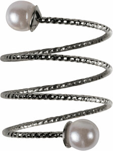 2 Coil Pearls by H2Z Spiral Rings - Rhodium Spiral Adjustable Ring