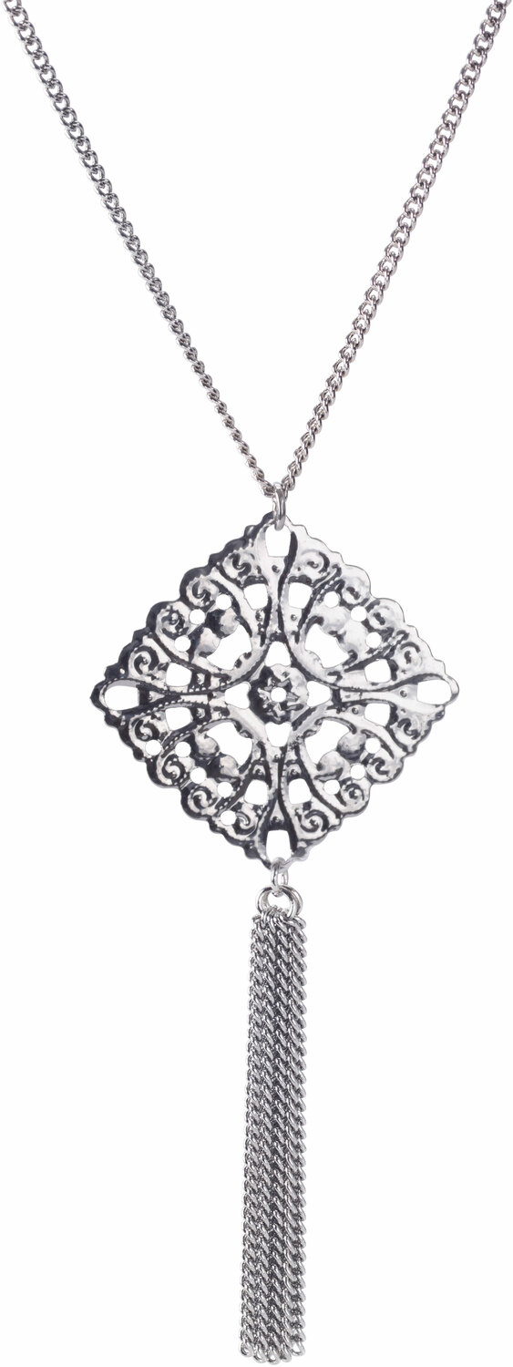 "Silver Interlace by H2Z Filigree Jewelry - Silver Interlace - 15.5"" - 19.5"" Filigree Necklace with 2.75"" Pendant"