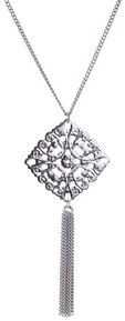 "Silver Interlace by H2Z Filigree Jewelry - 15.5"" - 19.5"" Filigree Necklace with 2.75"" Pendant"