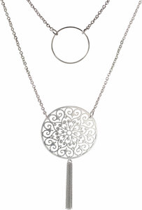 "Silver Circlet by H2Z Filigree Jewelry - 18"" - 20"" Filigree Necklace with 2.5"" Pendant"
