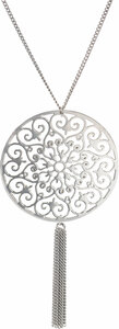 "Silver Flounce by H2Z Filigree Jewelry - 15.5"" - 19.5"" Filigree Necklace with 2.5"" Pendant"