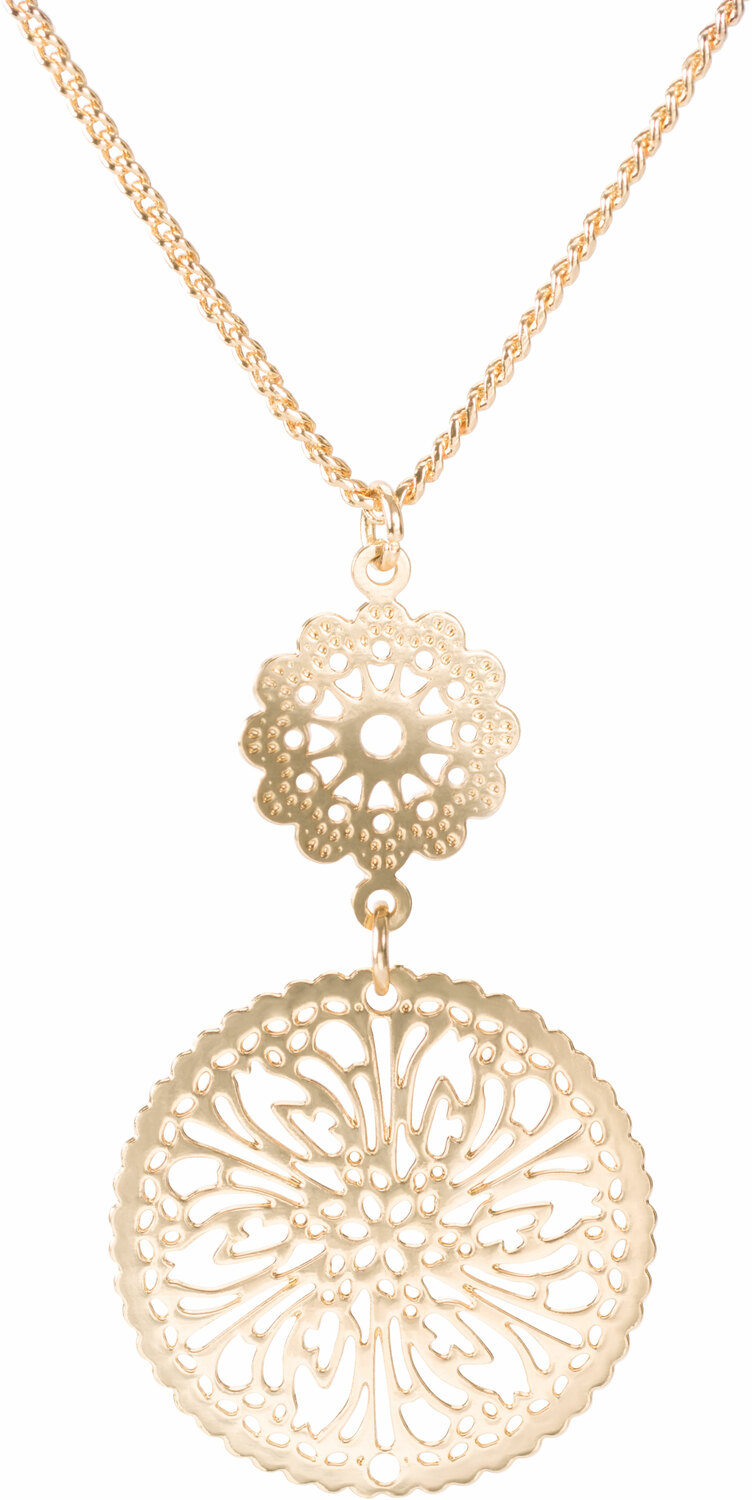 "Gold Frill by H2Z Filigree Jewelry - Gold Frill - 15"" - 18"" Filigree Necklace with 1.25"" Pendant"