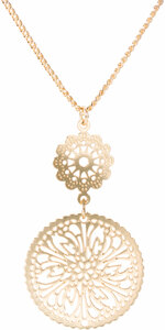 "Gold Frill by H2Z Filigree Jewelry - 15"" - 18"" Filigree Necklace with 1.25"" Pendant"
