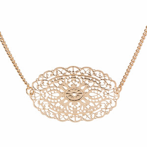 "Gold Ornament by H2Z Filigree Jewelry - 15"" - 18"" Filigree Necklace with .75"" Pendant"