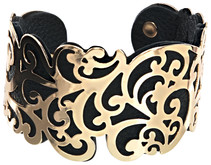 "Gold & Black by H2Z Filigree Jewelry - 1.5"" Flourish Cuff Bracelet"