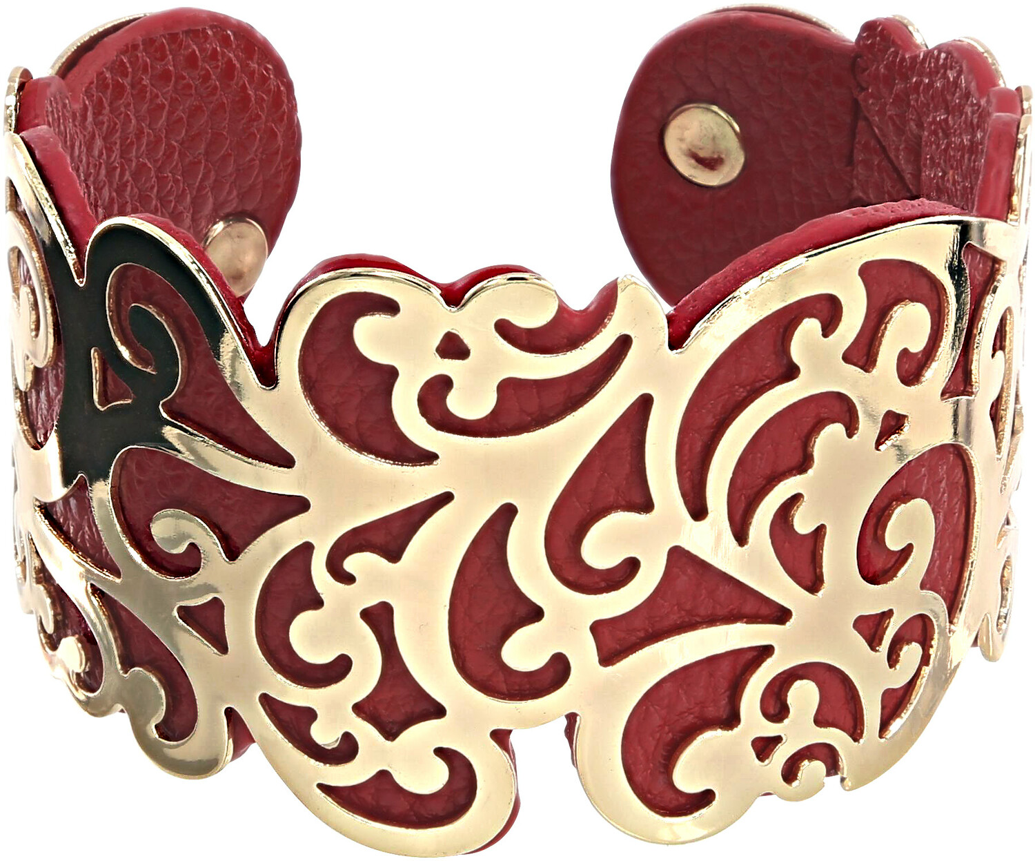 "Gold & Red by H2Z Filigree Jewelry - Gold & Red - 1.5"" Flourish Cuff Bracelet"