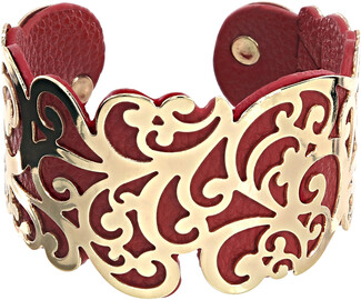 "Gold & Red by H2Z Filigree Jewelry - 1.5"" Flourish Cuff Bracelet"