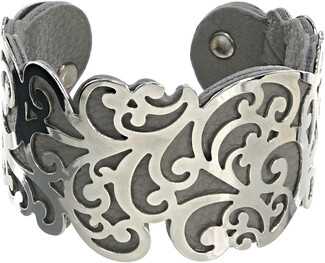 "Silver & Gray by H2Z Filigree Jewelry - 1.5"" Flourish Cuff Bracelet"