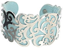 "Silver & Aqua by H2Z Filigree Jewelry - 1.5"" Flourish Cuff Bracelet"