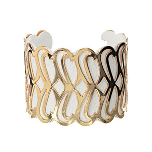 "Gold & White by H2Z Filigree Jewelry - 2"" Infinity Cuff Bracelet"