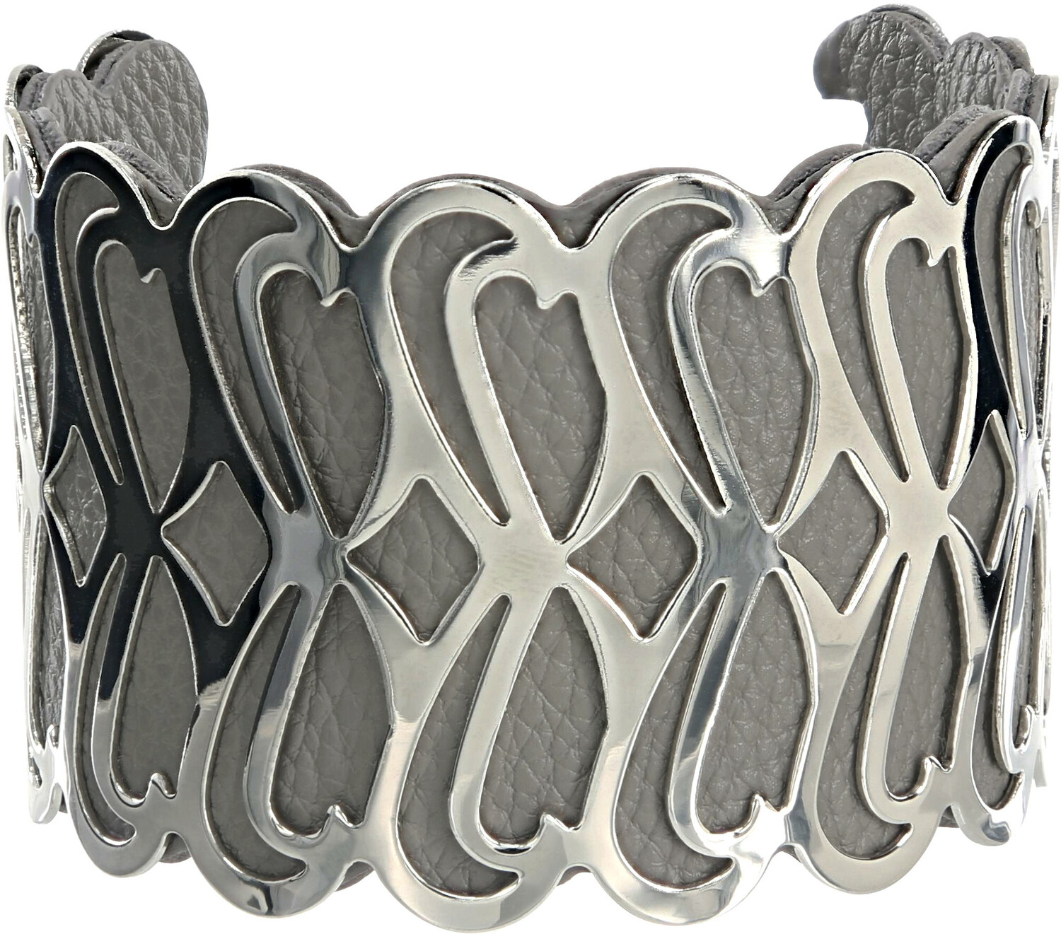 "Silver & Gray by H2Z Filigree Jewelry - Silver & Gray - 2"" Infinity Cuff Bracelet"