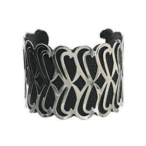"Silver & Black by H2Z Filigree Jewelry - 2"" Infinity Cuff Bracelet"