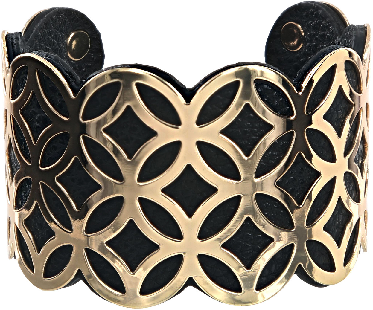 "Gold & Black by H2Z Filigree Jewelry - Gold & Black - 1.75"" Geometric Cuff Bracelet"