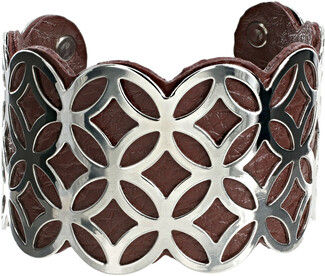 "Silver & Chocolate by H2Z Filigree Jewelry - 1.75"" Geometric Cuff Bracelet"