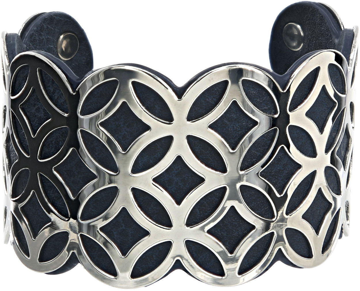 "Silver & Navy by H2Z Filigree Jewelry - Silver & Navy - 1.75"" Geometric Cuff Bracelet"