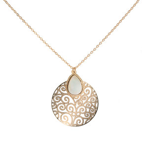 Gold Swirl by H2Z Filigree Jewelry - Mother of Pearl Necklace