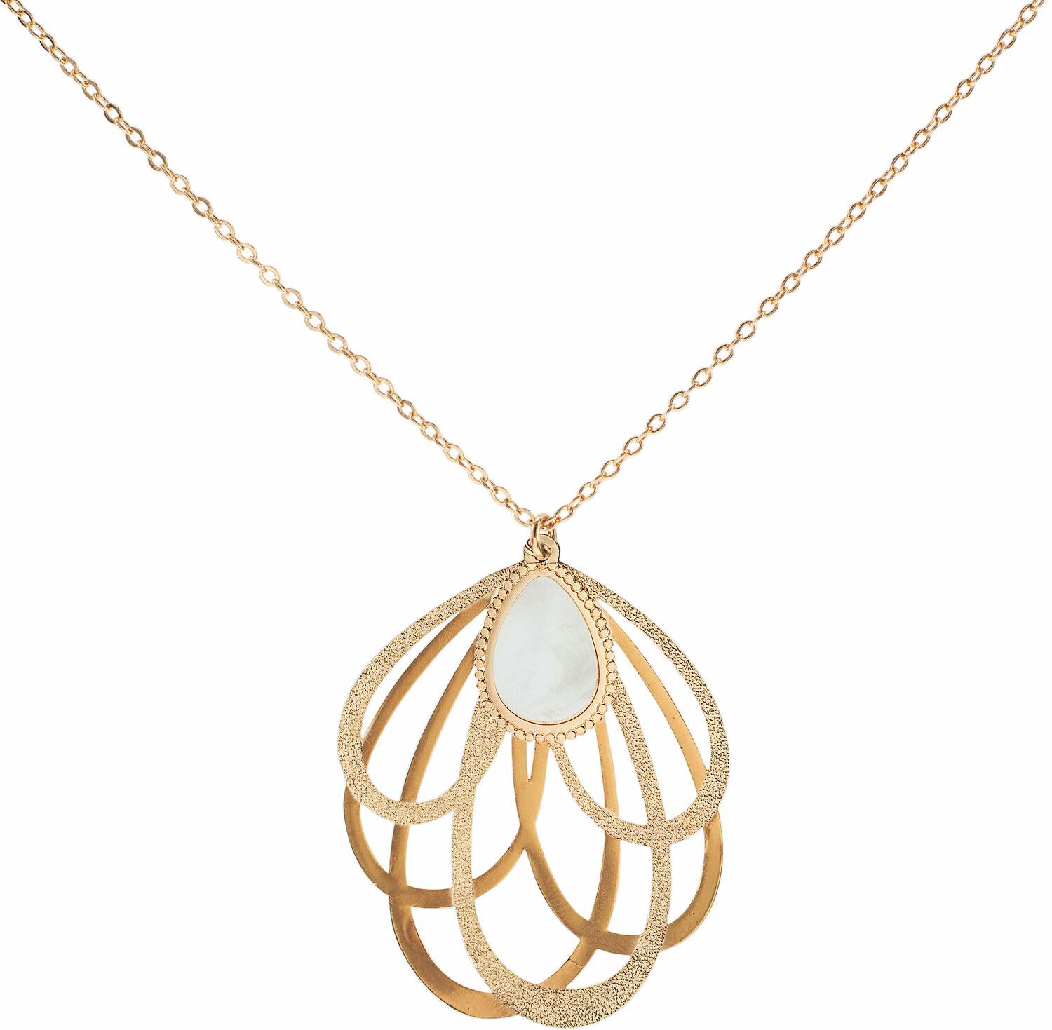 Gold Petal by H2Z Filigree Jewelry - Gold Petal - Mother of Pearl Necklace