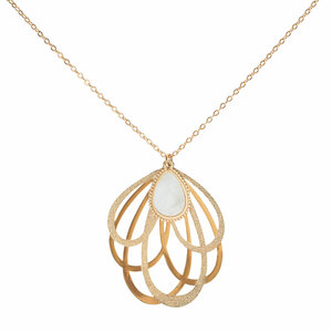 Gold Petal by H2Z Filigree Jewelry - Mother of Pearl Necklace