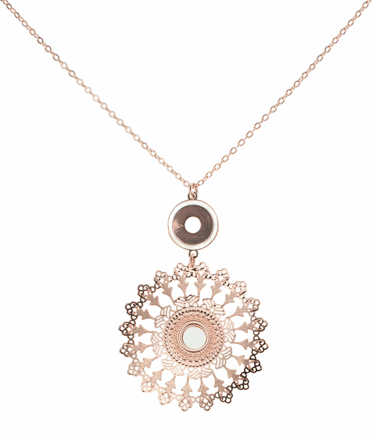 Rose Gold Mandala by H2Z Filigree Jewelry - Rose Gold Mandala - Mother of Pearl Necklace