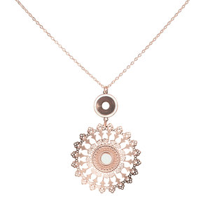 Rose Gold Mandala by H2Z Filigree Jewelry - Mother of Pearl Necklace