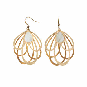 Gold Petal by H2Z Filigree Jewelry - Mother of Pearl Earrings