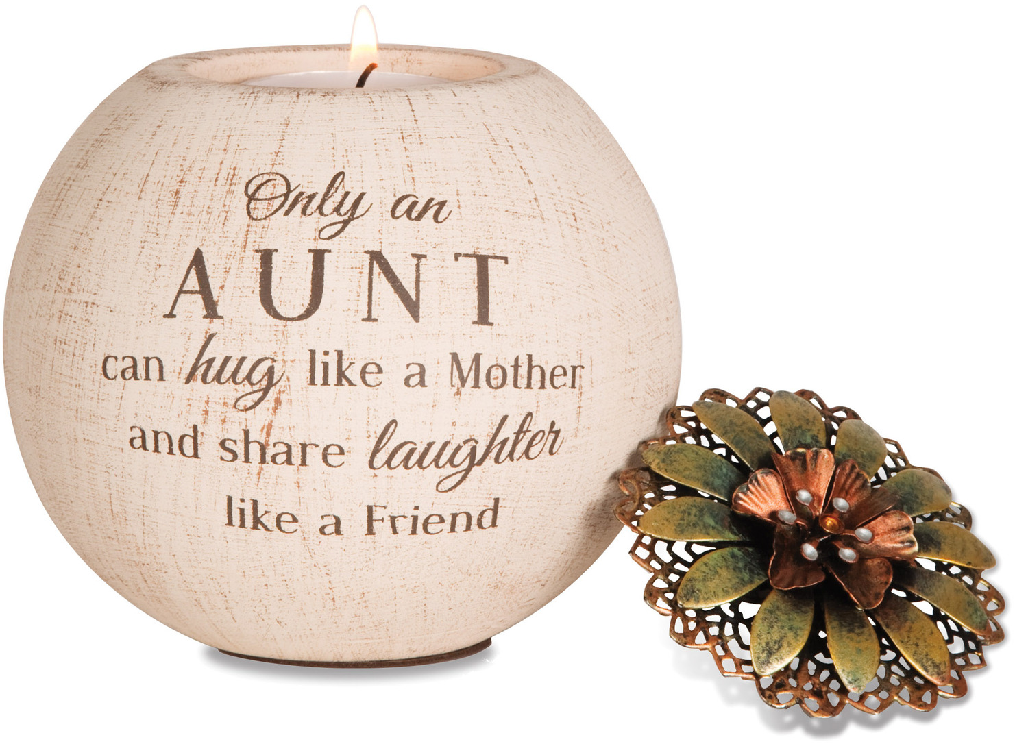 "Aunt by Light Your Way - Aunt - 4"" Round Tea Light Candle Holder"
