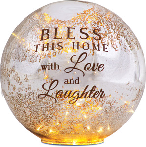 "Bless Our Home by Light Your Way - 8"" LED Lit Glass Lantern"