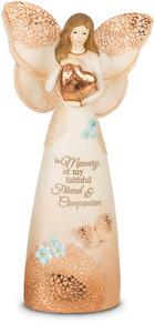 "Faithful Friend by Light Your Way Memorial - 7.5"" Angel Holding Heart"