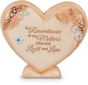 "Mother's Light & Love by Light Your Way Memorial - 4"" x 3.25"" Self-Standing Heart Plaque"