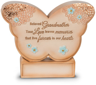 "Beloved Grandmother by Light Your Way Memorial - 4.5"" x 3.5"" Self-Standing Butterfly Plaque"