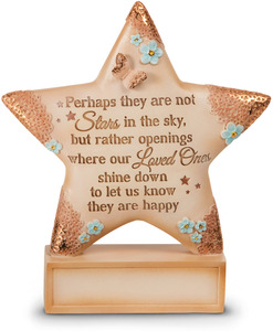 "Stars in the Sky by Light Your Way Memorial - 4"" x 4.5"" Self-Standing Star Plaque"