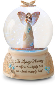 In Loving Memory by Light Your Way Memorial - LED Lit, 100mm Musical Water Globe