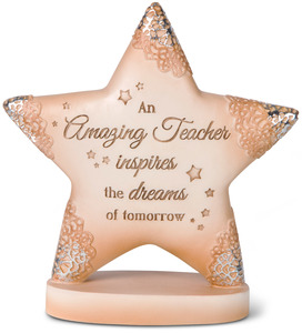 "Amazing Teacher by Light Your Way Every Day - 4"" x 4.25"" Self-Standing Star Plaque"