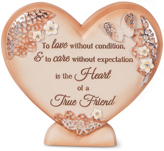 "True Friend by Light Your Way Every Day - 4"" x 4.5"" Self-Standing Heart Plaque"