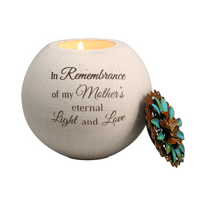 "Mother's Love by Light Your Way Memorial - 4"" Round Tea Light Candle Holder"