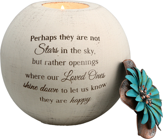 "Stars in the Sky by Light Your Way Memorial - 5"" Round Tea Light Candle Holder"