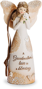 "Grandmother by Light Your Way Every Day - 4.5"" Angel Ornament Holding Flowers"