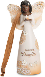"Daughter by Light Your Way Every Day - 4.5"" Ebony Angel Ornament with Butterfly"