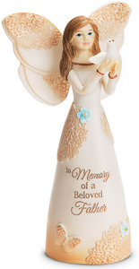 "Beloved Father by Light Your Way Memorial - 5.5"" Angel Holding Dove"