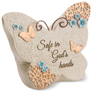 "Safe in God's hands by Light Your Way Memorial - 4"" x 3"" Butterfly Memorial Stone"