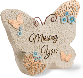 "Missing you by Light Your Way Memorial - 4"" x 3"" Butterfly Memorial Stone"
