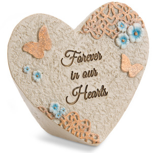 "Forever in our hearts by Light Your Way Memorial - 3.5"" x 3"" Heart Memorial Stone"