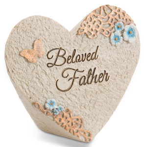 "Beloved father by Light Your Way Memorial - 3.5"" x 3"" Heart Memorial Stone"