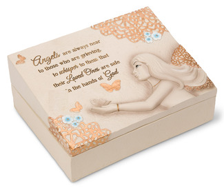"Angels are Near by Light Your Way Memorial - 8""x6""x3"" Memorial Box"
