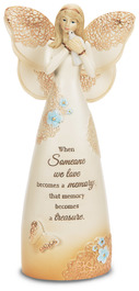 "Treasured Memory by Light Your Way Memorial - 7.5"" Angel Holding Dove"
