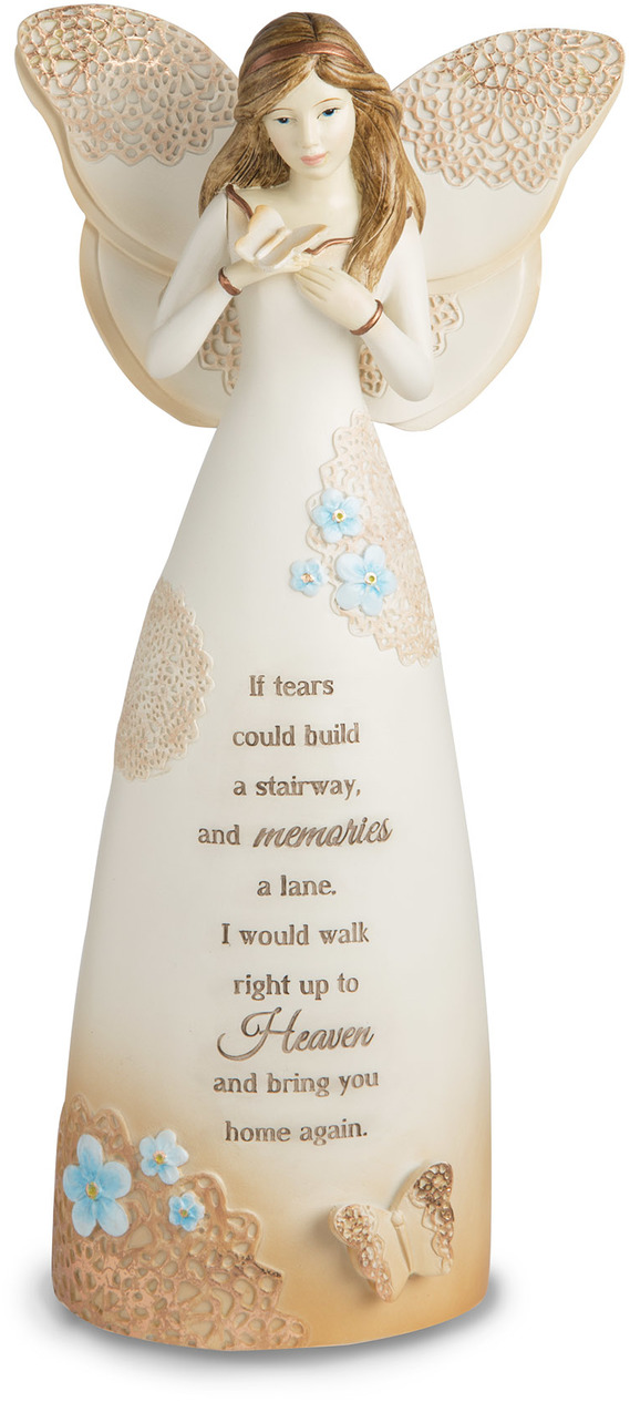 "Sympathy by Light Your Way Memorial - Sympathy - 9"" Angel Holding Butterfly"