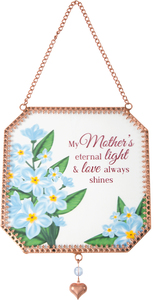 "Mother by Light Your Way Memorial - 5"" x 5"" Glass Sun Catcher"